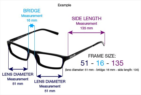 glasses frame measurements