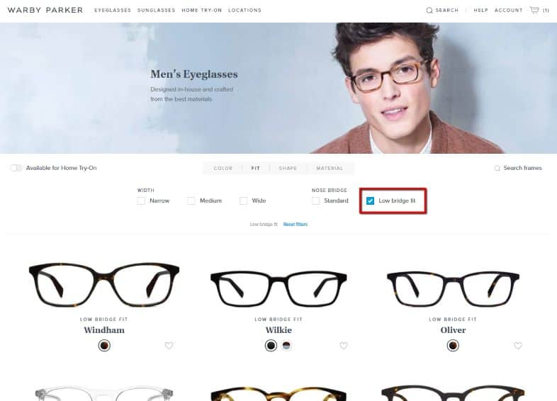 warby parker low bridge fit