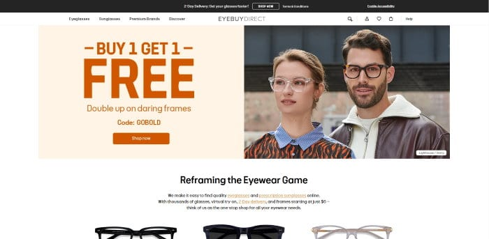 eyebuydirect homepage