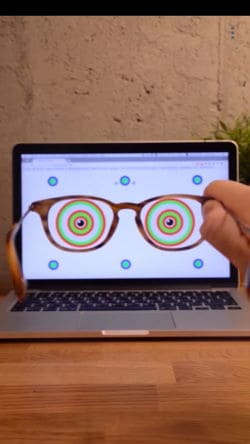 liingo rx reader app view with glasses