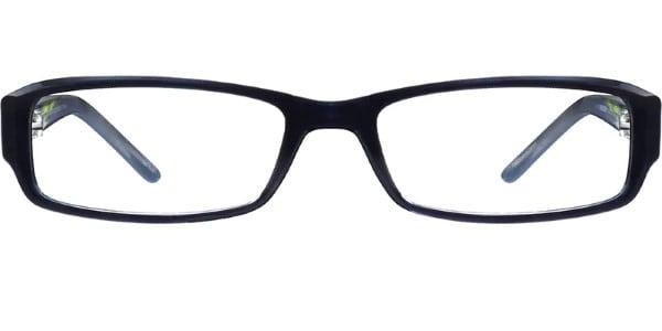 narrow black rectangle glasses