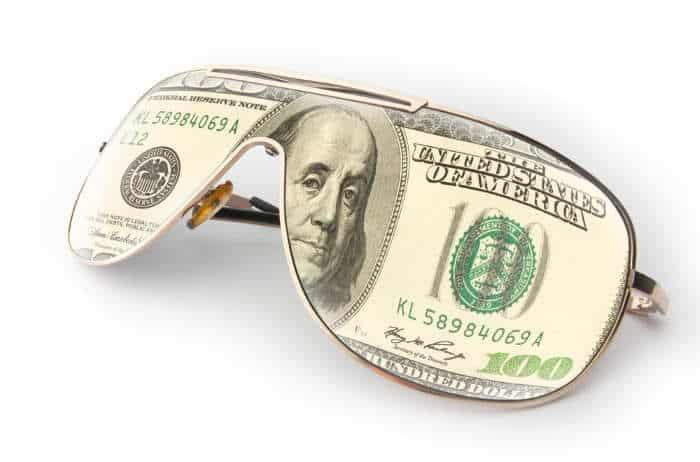 $100 bill reflection in sunglasses