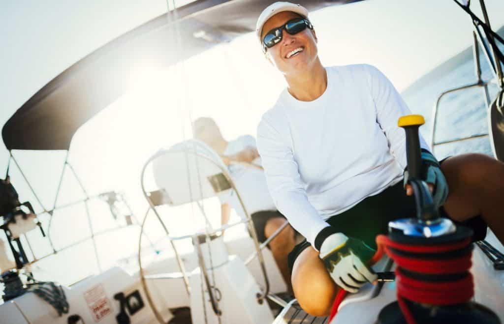 woman in sunglasses sailing