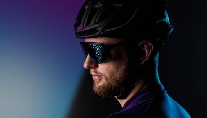 cyclist profile wearing Oakley sunglasses