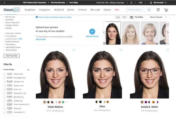 glassesusa virtual mirror browsing