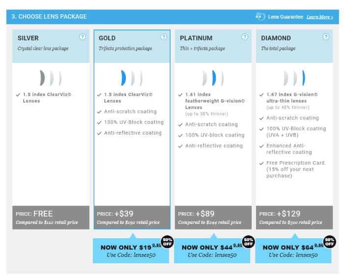 glassesusa lens package options