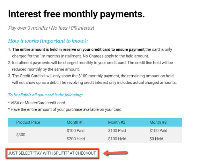 glassesusa splitit payment plan details