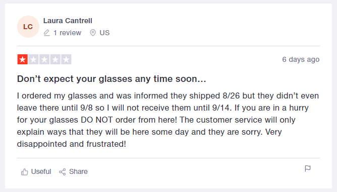 glassesusa trustpilot negative review
